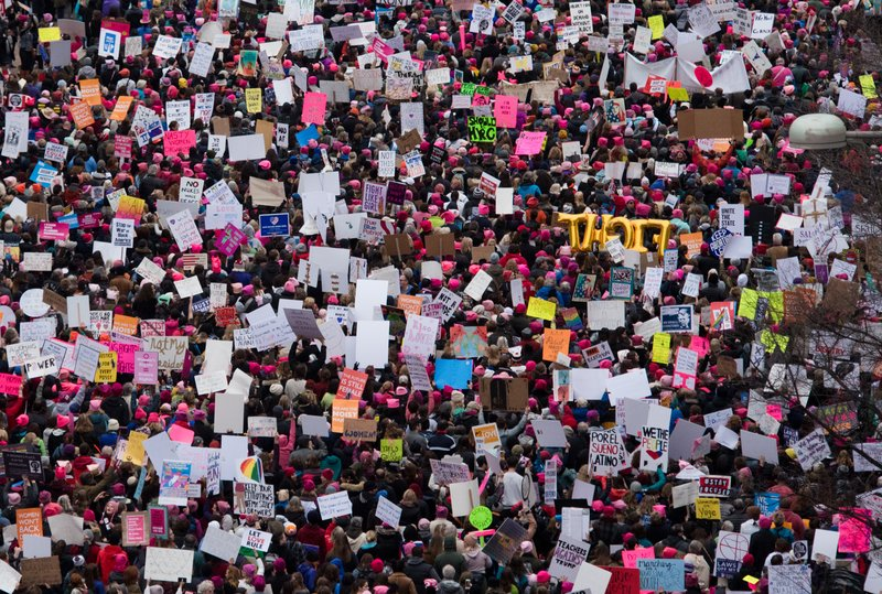 WASHINGTON, DC - JANUARY 21:  A view of demonstrators marching on Pennsylvania Avenue during the Women's March on Washington on January 21, 2017 in Washington, DC.  (Photo by Noam Galai/WireImage)
